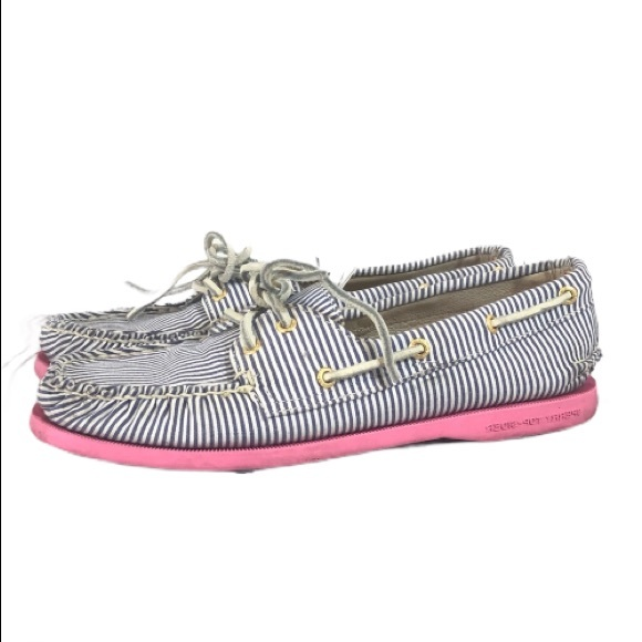 Sperry striped Top Sider Fabric Boat Shoe 8